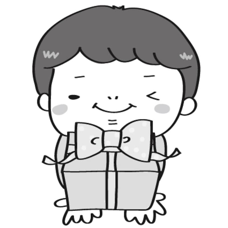 【白黒】お祝いのプレゼントを渡す男の子です。