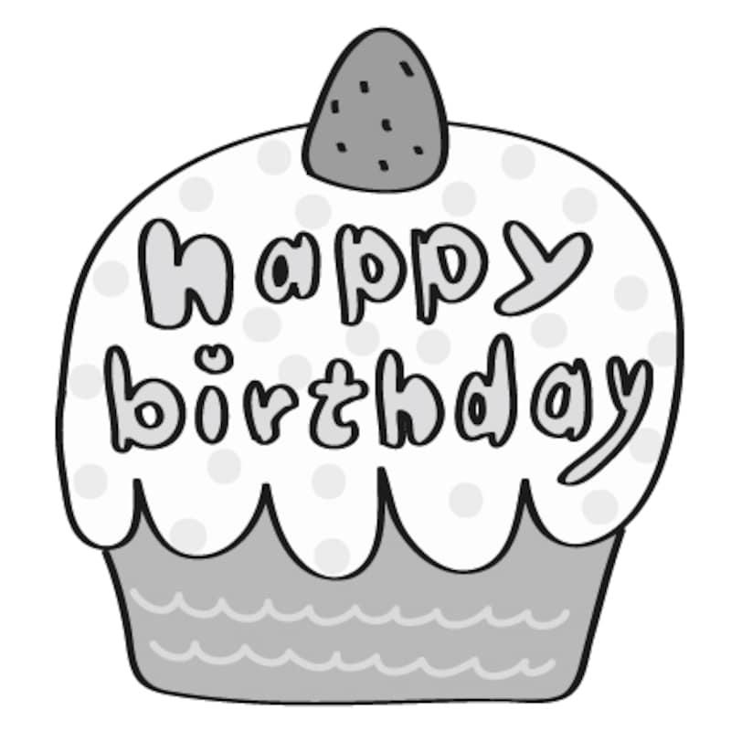 【白黒】ケーキとハッピーバースデーのロゴです。
