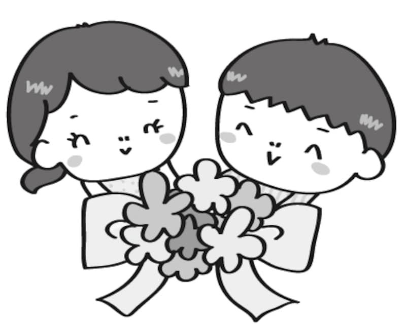【白黒】お祝いの花束をもった子どもたちです。