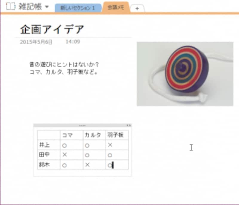 4.マス目をクリックしてデータを入力して表を完成させます