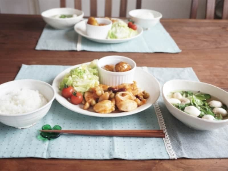 鶏とお豆のケチャップソテー定食