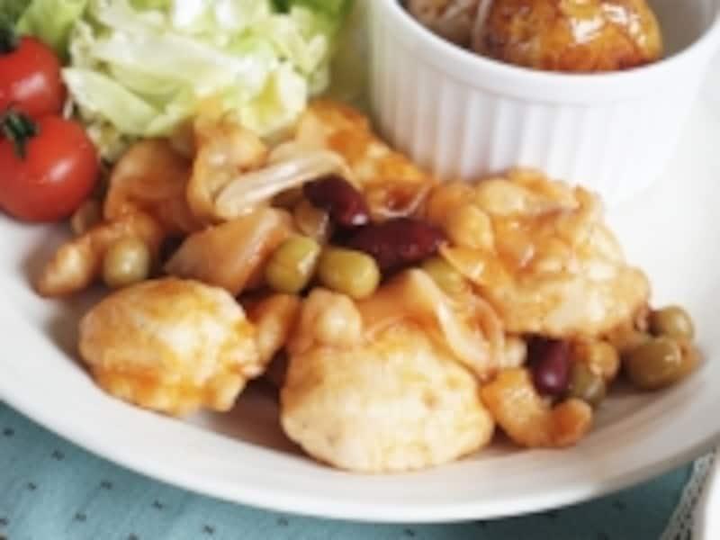 鶏とお豆のケチャップソテー