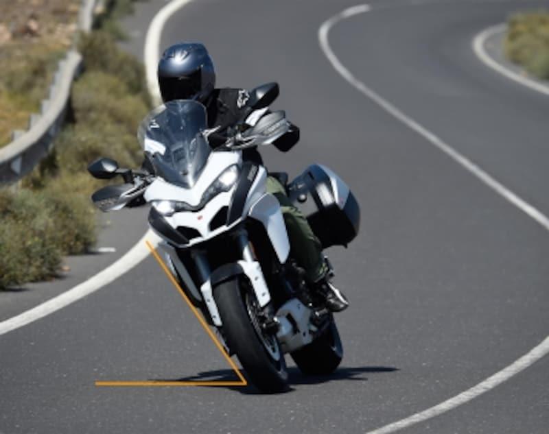 クルマと違い、オートバイは曲がる方向に対してバンク(傾ける)させて走っていく仕組みになっている