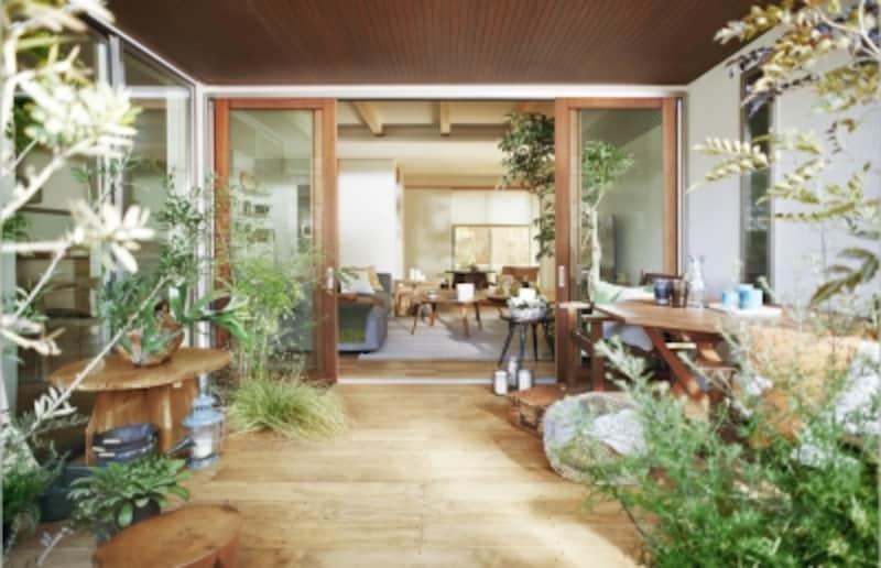 木質感豊かなインテリアとグリーンがマッチした心地よい空間(『konoka』)