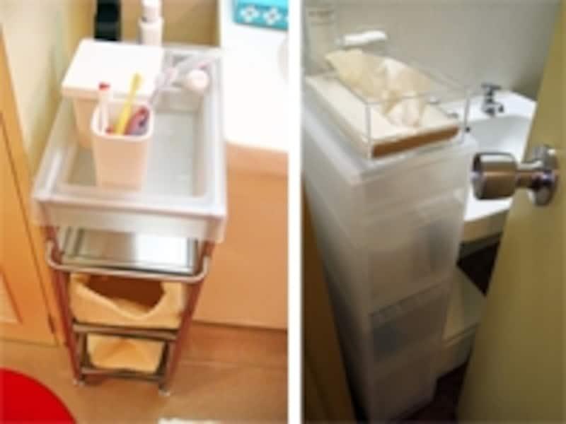 左:IKEAのGRUNDTALで幅24センチundefined右:無印良品のPPストッカーで幅18センチ