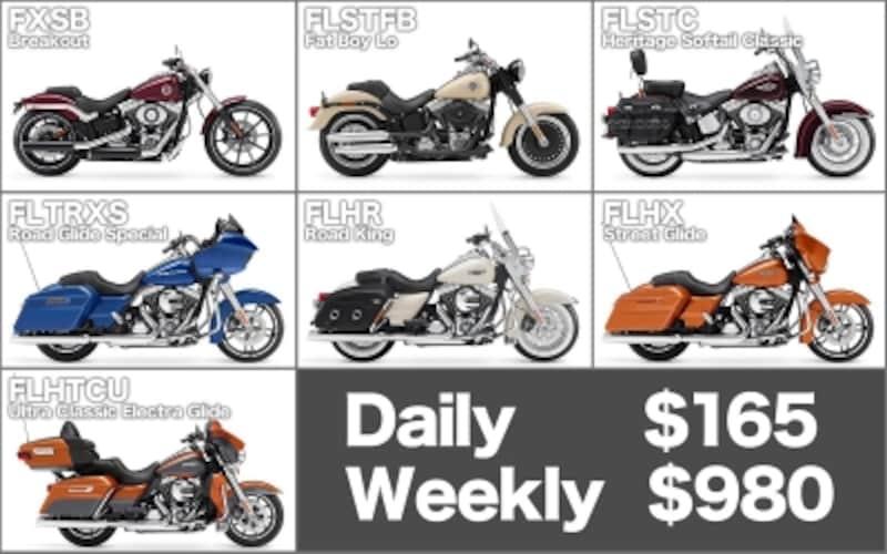 2015年5月現在のラスベガスH-Dで貸し出している車種と価格(1Dayとウィークリー)
