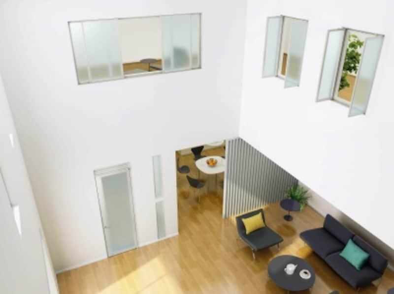 吹き抜けに面して採光が可能な室内窓を設けることで、開放感を確保しつつ、ある程度の独立性も生まれる。[アルミインテリア建材undefinedundefinedスクリーンパーティション採光ユニット開き窓/スクリーンパーティション採光ユニット引違い窓]undefinedYKKAPundefinedhttp://www.ykkap.co.jp/