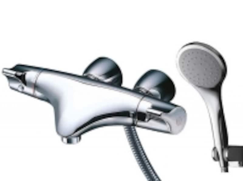 丸みのあるデザインが優しい雰囲気を持つ、サーモスタットシャワー水栓(壁付きタイプ)[ニューウエーブシリーズ]