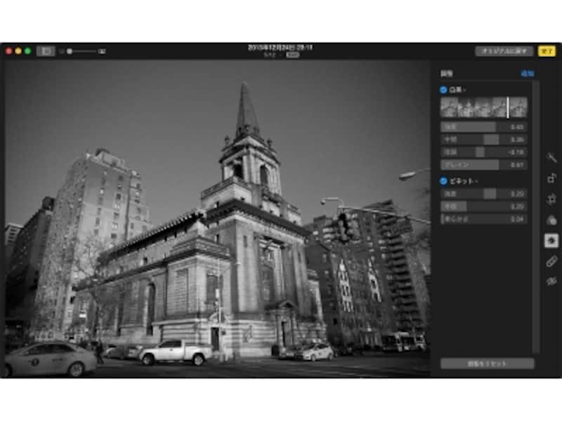 「白黒」でモノクロの階調を調整してざらつき感を加えて、「ビネット」で画像の縁に淡い黒い枠の効果を加えたりします。
