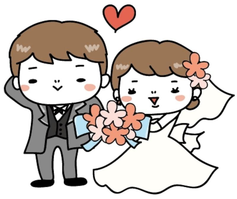 洋装 新郎新婦 結婚式 イラスト カラー かわいい