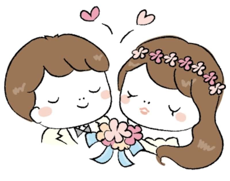 手書き 新郎新婦 結婚式 イラスト カラー かわいい