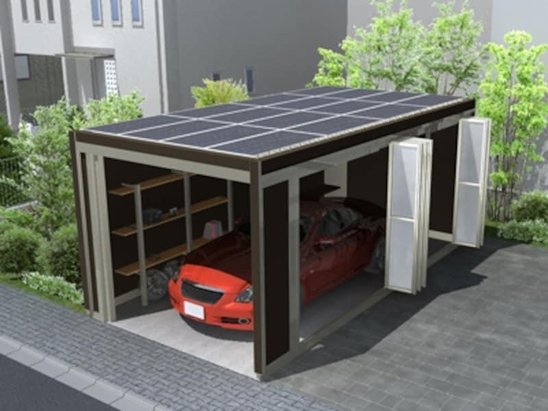 ガレージリビング「スタイルコート」への太陽光発電パネルの搭載イメージundefined※パネル傾斜は平置き(2度傾斜)の場合