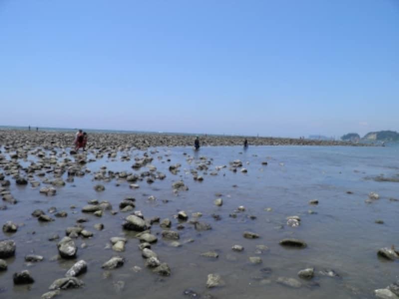 材木座の海。左手に和賀江島が見える