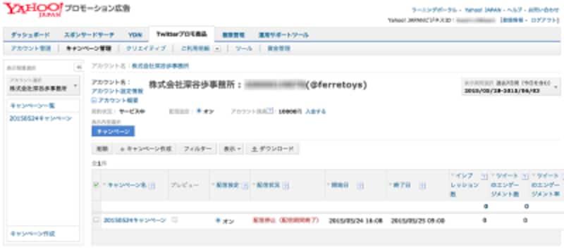 Yahoo!プロモーションの管理画面