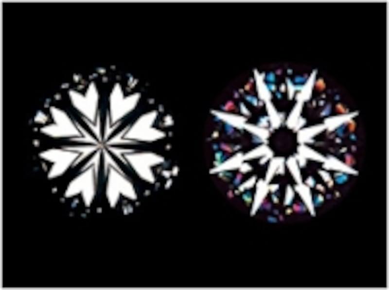 ハートマークや矢のマークが見えるダイヤモンドのカット