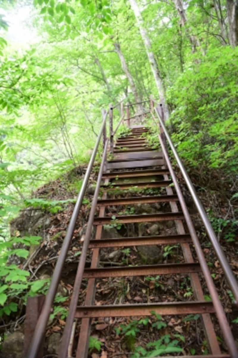 約170段の鉄の階段は、スリル満点!