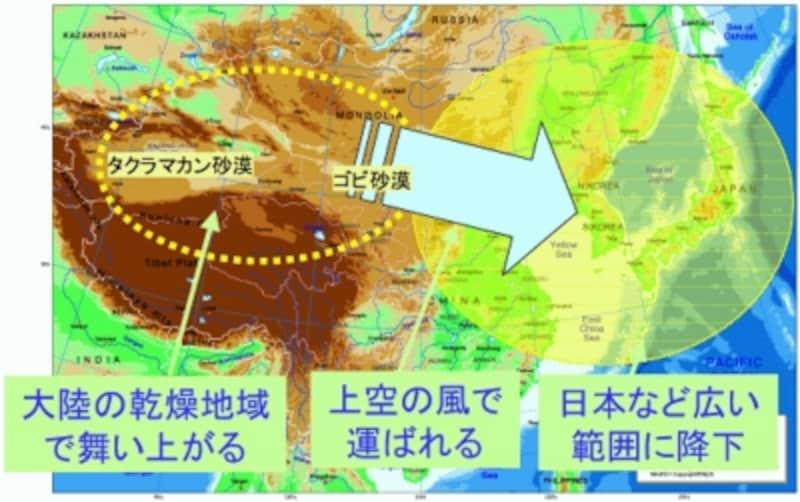 黄砂解説図(画像提供:気象庁ホームページ)。クリックすると拡大します。