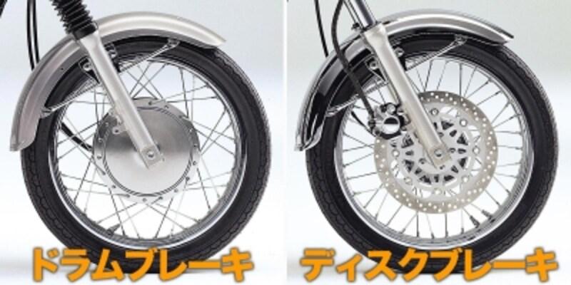 ドラムブレーキ(左)を採用しているのはエストレヤRSカスタム/エストレヤカスタムの2モデルで、その他のエストレヤはディスクブレーキを採用