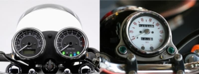 二連メーター(左)は現行モデルからの採用で、それまでは一連メーターでした