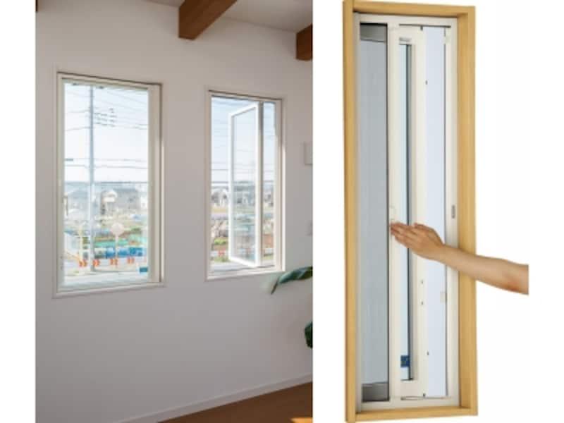 網戸の開閉は、横に引くだけ。使用しない時は収納できるので、部屋の開放感もアップする。[横引きロール網戸XMY]undefinedYKKAP