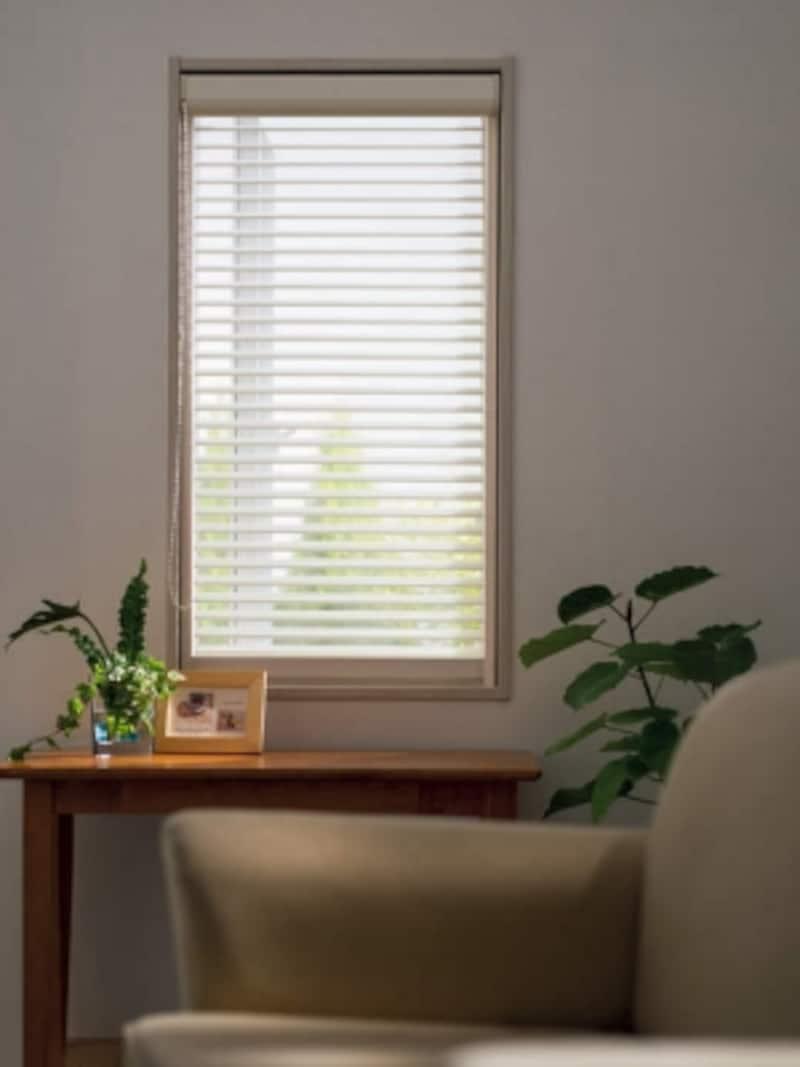 視線や日射を遮るブラインドにもなる網戸。網戸とウインドウトリートメントが一体なので、操作も簡単。額縁内に収まるので、窓まわりもすっきり。[ソフトブラインド網戸]undefinedYKKAP