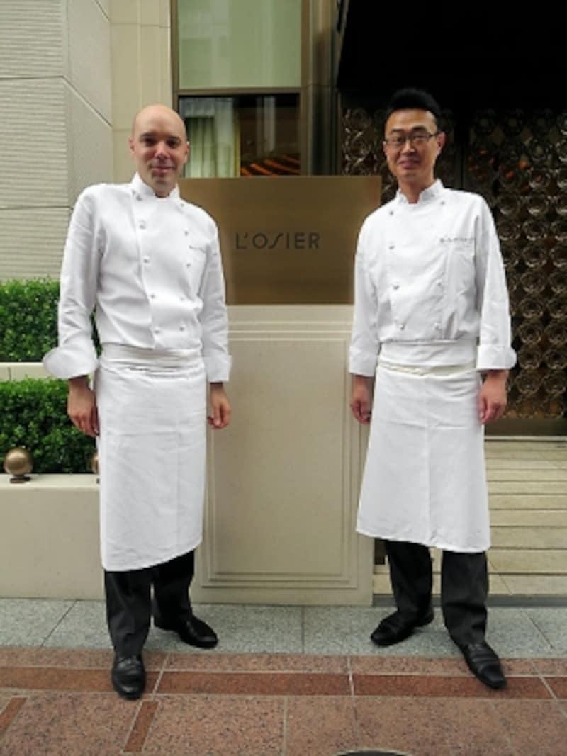 左がエグゼクティブシェフのオリヴィエ・シェニョン氏、右が料理長の山下泉氏