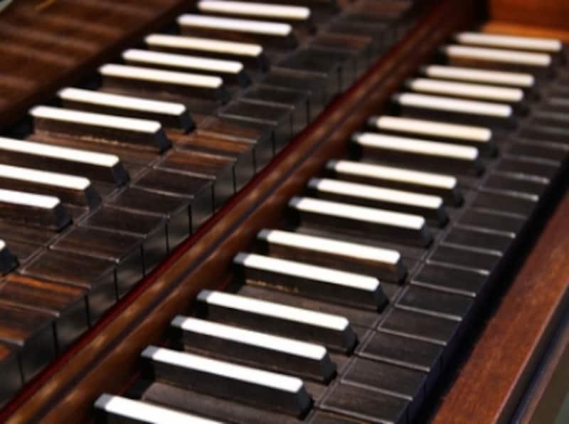 黒白逆転した鍵盤の写真