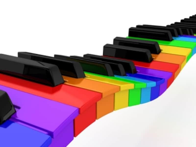 カラフルな鍵盤の写真