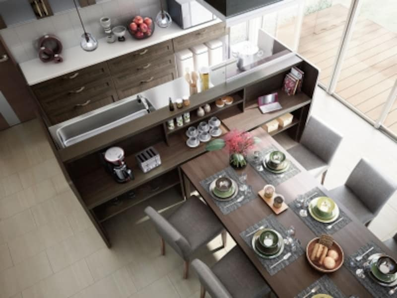 収納スペースを持つカウンターを備えたオープンな対面キッチン。家族みんなで食事の用意も可能。[アレスタ]undefinedLIXILundefinedhttp://www.lixil.co.jp/