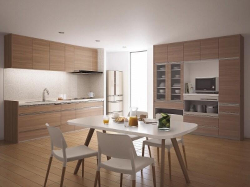 システムキッチンは、キッチン部分と周辺ユニットを組み合わせるケースが多いが、キッチン部分の使い勝手は重要なポイント。[ラクシーナ]undefinedパナソニックエコソリューションズundefinedhttp://sumai.panasonic.jp/