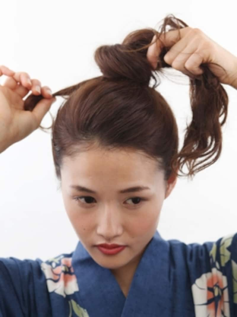 毛流れに対して直角にピンをさすと留まりやすい