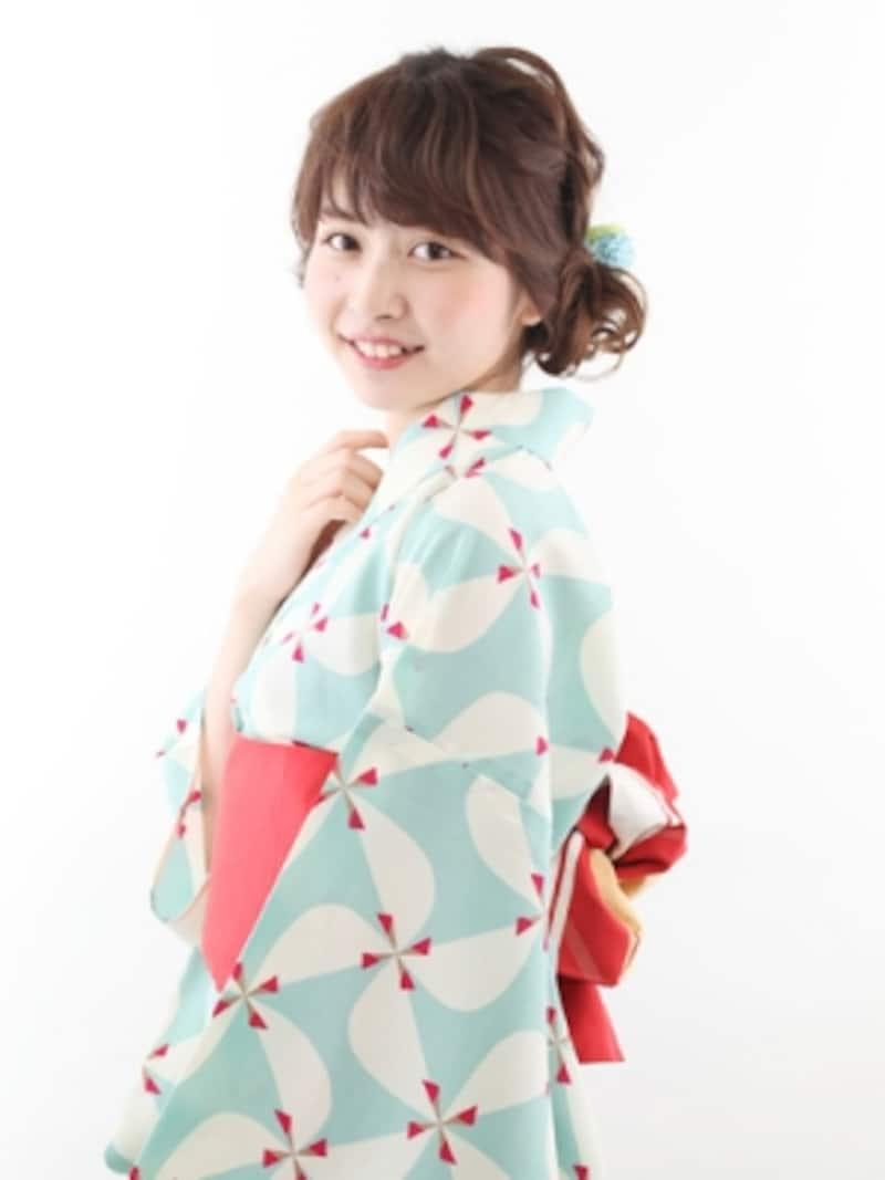 水色×オレンジのレトロな浴衣
