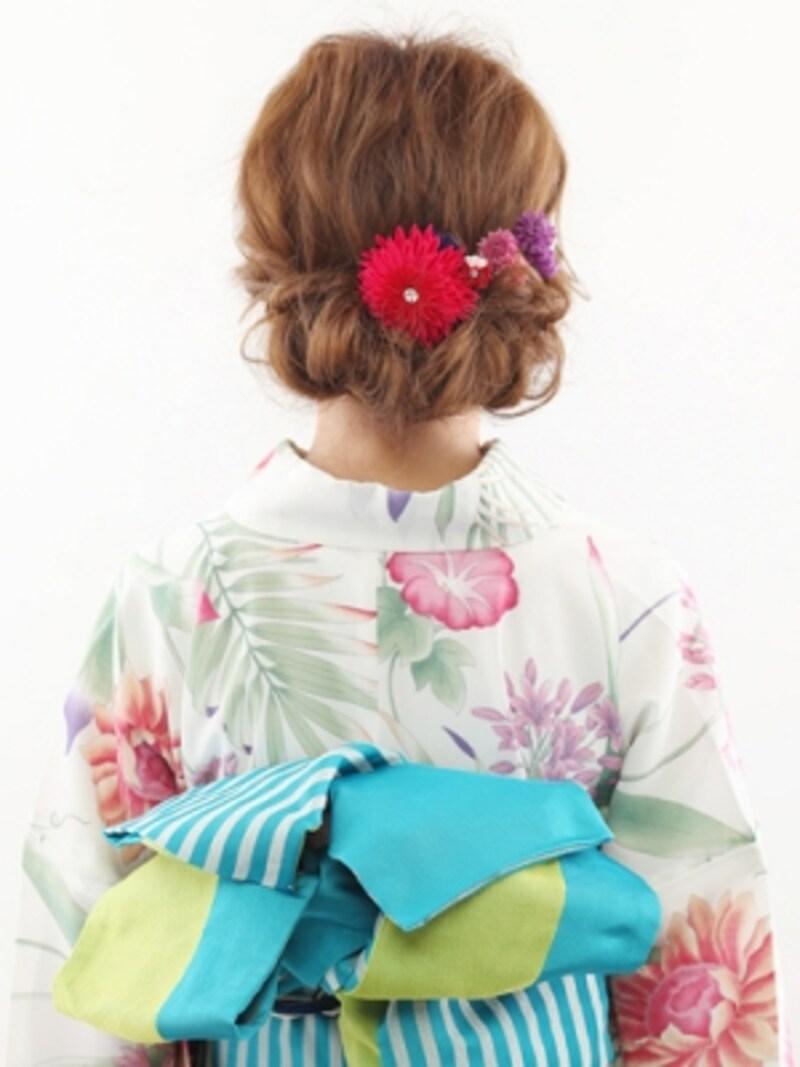 ミディアムの浴衣姿に!和菓子みたいな簡単アップヘア