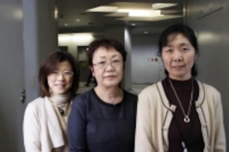 左から布花原明子准教授、伊藤直子教授、石井美紀代准教授
