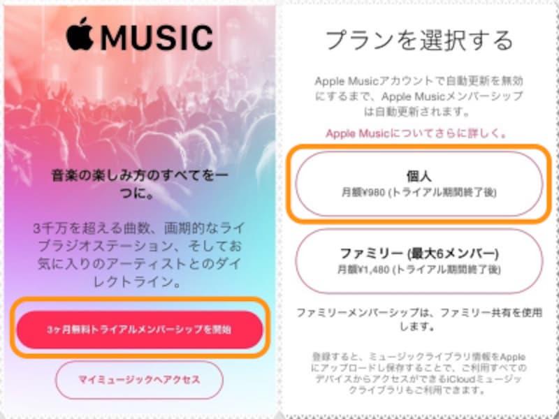 (左)[3ヶ月無料トライアルメンバーシップを開始]をタップ。AppleMusicと使わず、保存した曲を聴くだけという場合には[マイミュージックへアクセス]をタップします。(右)個人契約かファミリー契約のどちらかをタップ