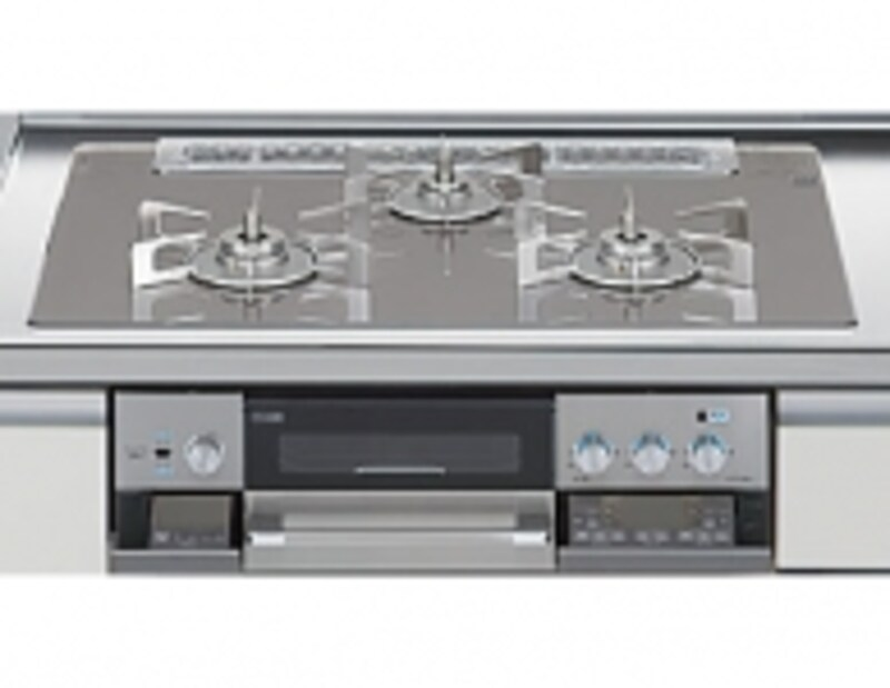 ダブル高火力バーナー、自動調理機能、オートグリルなどを搭載。すっきりとしたデザインのガスコンロ。[アレスタundefinedK483口コンロガラストップ高機能&スタイリッシュ]undefinedLIXILundefinedhttp://www.lixil.co.jp/