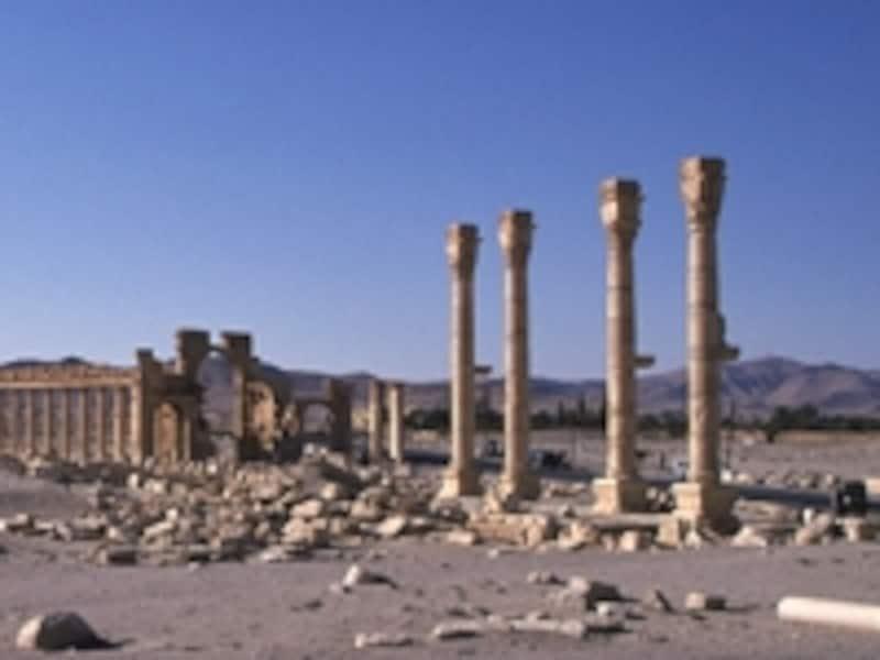 上の列柱つき大通りの続き。砂漠の中に突き出す列柱が人と自然の営みの不可思議を物語る©牧哲雄