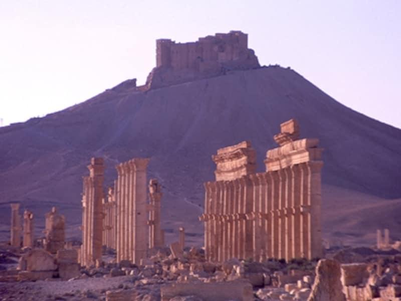 アラブ城砦と列柱。パルミラの列柱はたび重なる地震に耐え、1,800年以上もの間立ち続けて人類の営みを見守ってきた©牧哲雄