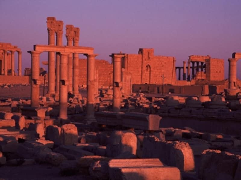 斜陽を受けて赤く浮かび上がるベル神殿周辺の夕景。手前の柱がドーリア式、奥がコリント式©牧哲雄