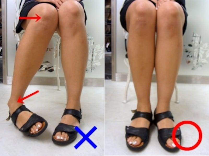 膝が内股気味で、足の重心を外側にかけるのは悪い座り方です。