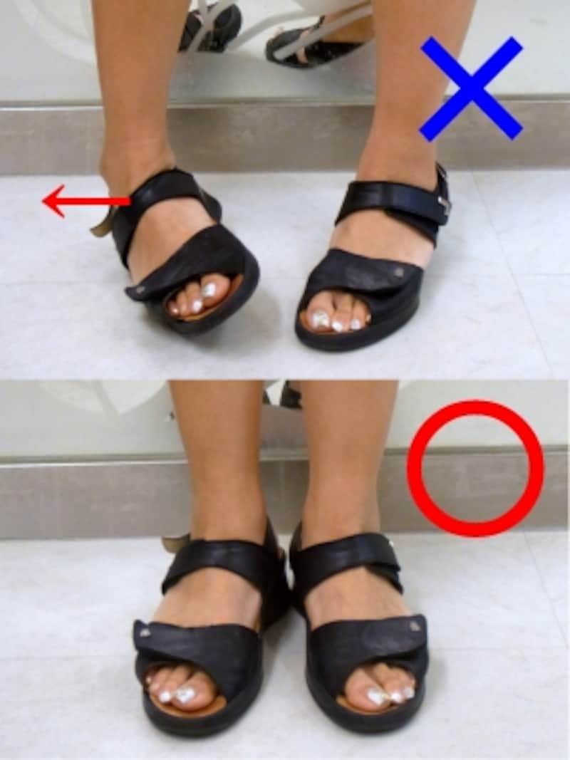 足の外側に重心をかけるのは悪い立ち方です。