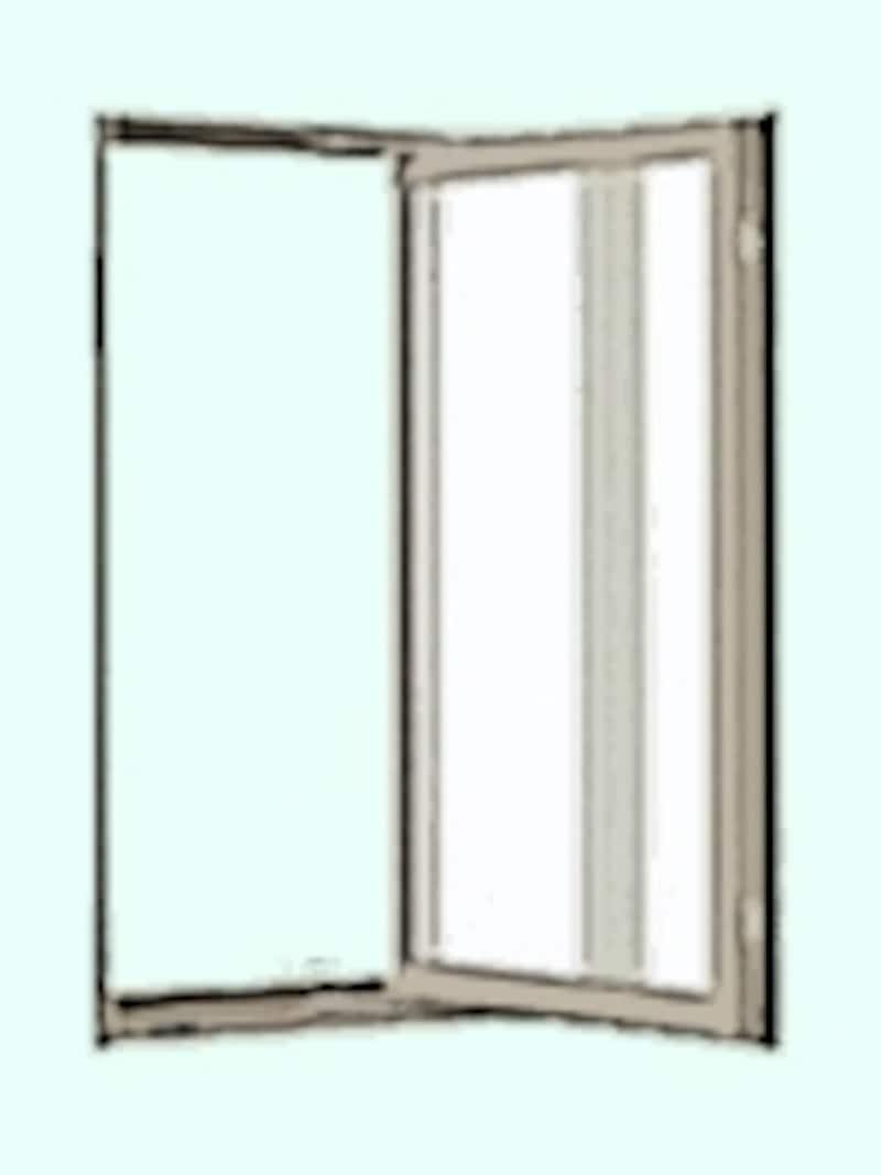 縦滑り出しまたはケースメント・ウインドウと呼ばれる窓。