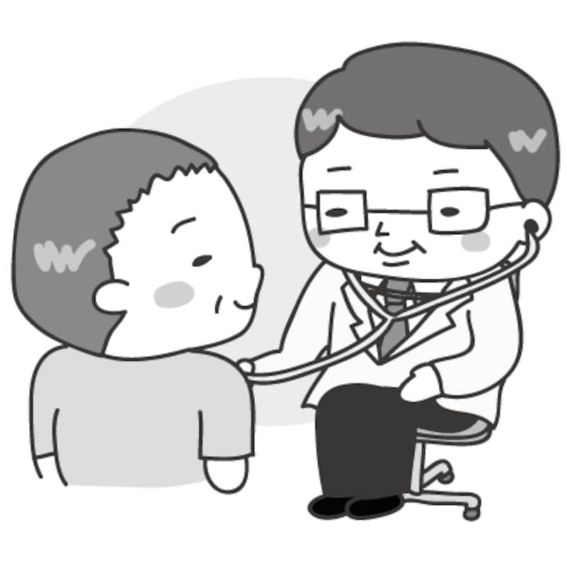 【モノクロ】診察のカットです。