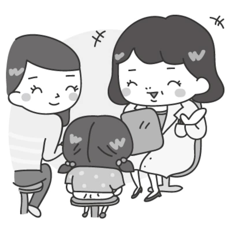 【モノクロ】小児科の診察のカットです。