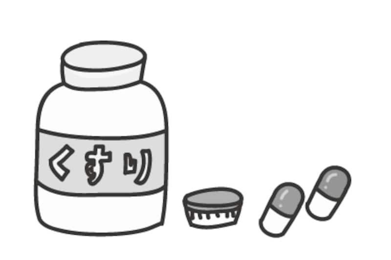 【モノクロ】薬のカットです。