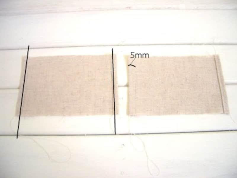 両端を三つ折縫い