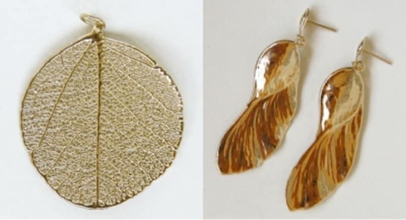 左は丸い形からMoeda(硬貨)という愛称をもつ葉、右はAmendoim-bravo(マメ科植物)の種を加工した商品