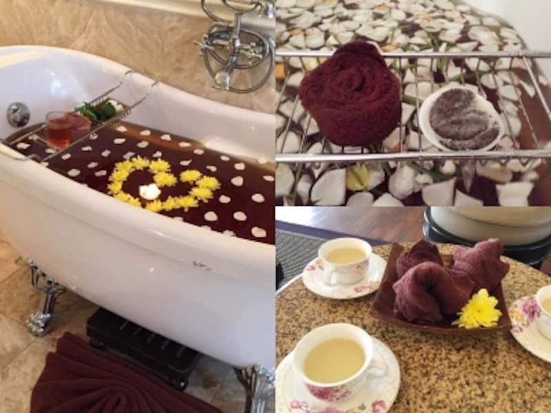 花びらが浮かぶ贅沢な紅茶風呂(左)につかりながら目元パック。なんとこれも茶葉入り(右上)。施術前には紅茶のサービスも(右下)。