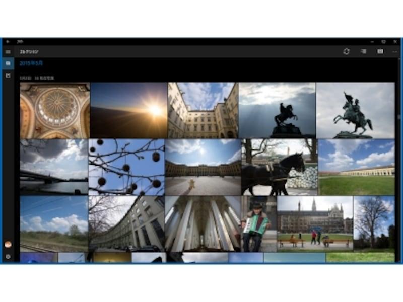 Windows10の「Microsoftフォト」の「コレクション」画面。