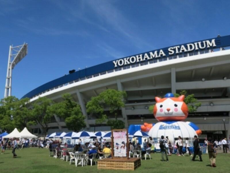 横浜スタジアムは横浜公園の中にあります。横浜DeNAベイスターズ、横浜スタジアムが一体となって、プロ野球を通じたまちづくりを推進する「コミュニティボールパーク化」構想がすすめられています(2015年6月20日撮影)